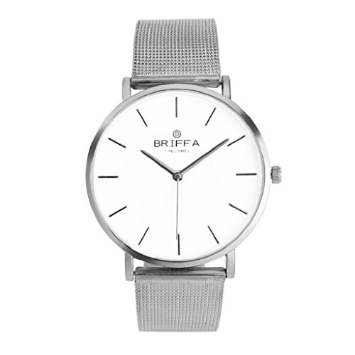 Womens Mens Quartz Watch, Hosamtel Boys Girls Classic Steel Strap Casual Watches (Silver)