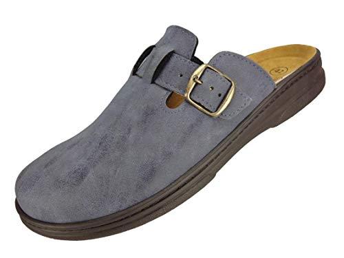 Algemare Herrenclog Veluret 'blu' Sani-pur Wechselfußbett Herstellung in Deutschland 7978_8184 Hausschuh Pantoffel, Größe:42 EU