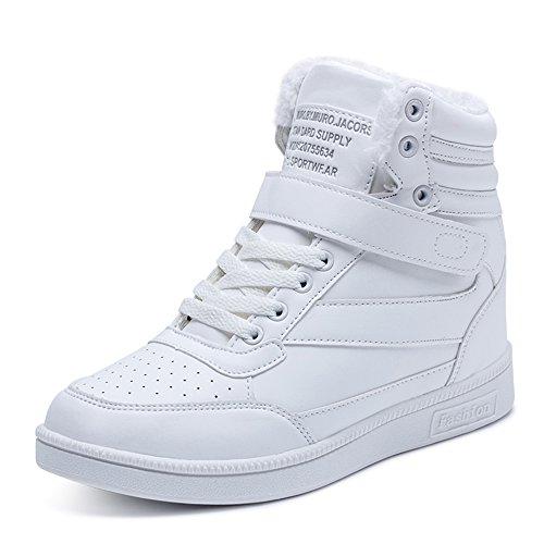 BAINASIQI Damen Sneakers High Top Sportschuhe Wedges Keilabsatz Schuhe Laufschuhe Atmungsaktive Freizeitschuhe Turnschuhe (EU 39, Weiß-02)