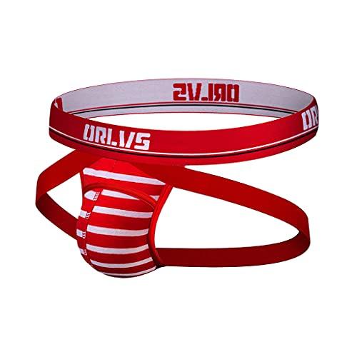 CO&CO Ropa Interior Rayada para Hombres, Ropa Interior Antideslizante, Ropa Interior De T-Pantalones De Cintura Baja Transpirable (3 Piezas)(Size:M,Color:Rojo)
