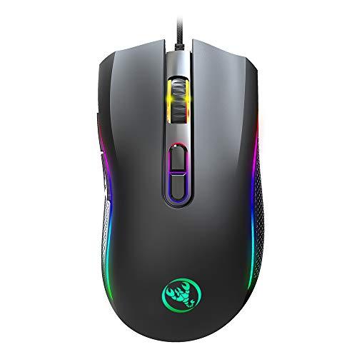 Entweg Ratón con Cable Ratón para Juegos Colorido Brillante Ratón con Cable Seis dpi Ajustable Macro Definición Programable RGB Gaming Mouse A869