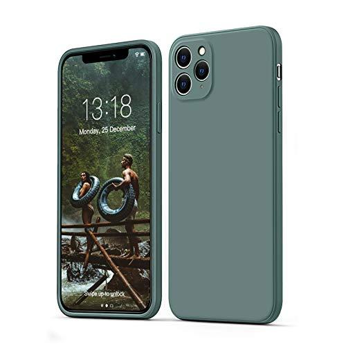 """GOODVISH Funda de Silicona Líquida Ultrafina para iPhone 11 Pro MAX 6,5"""", Protección de la Pantalla y la Cámara, Especial Diseño de Borde Recto, Disipación de Calor Rápido, Anti-Caída (Verde Oscuro)"""