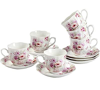 GuangYang Purple Flower Espresso Cups with Saucers,Porcelain Turkish Coffee Cup and Saucer,Set of 6, 2.8oz,Christmas Gift Set