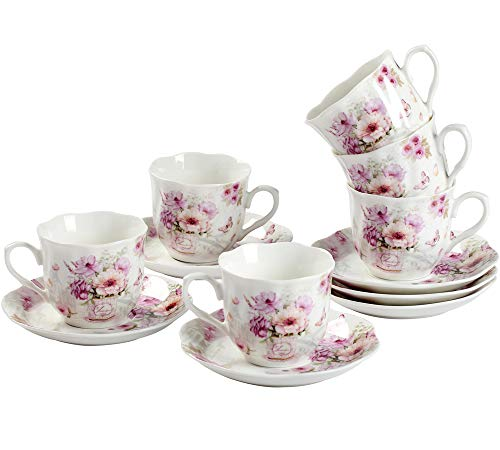 GuangYang Purple Flower Mini Espresso Cups with Saucers,Porcelain Turkish Coffee Cup and Saucer,Set of 6, 2.8oz, Gift Set (Small Size)