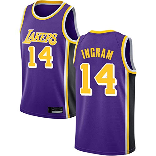 SHR-GCHAO Hombres Jersey, NBA Lakers 14 Baloncesto Jersey # Ingram Hombres, Unisex Camiseta Sin Mangas del Chaleco, Transpirable, Cómodo,M(170~175cm)