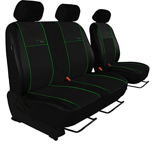POK-TER-TUNING Maßgefertigter Sitzbezüge für Vito W447, Fahrersitz + 2er Beifahrersitzbank Design Kunstleder Kunst-Line. Hier mit Grüner Lamelle.