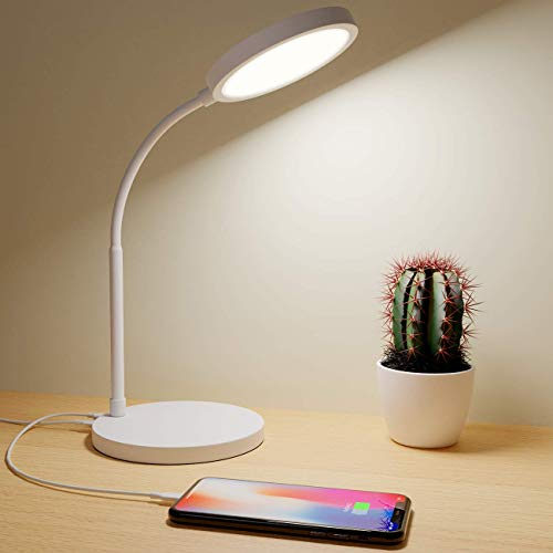 Lampara Escritorio LED, Hepside Flexo LED Escritorio de Protección Ocular, Lámpara de Mesa con Puerto de Carga USB, Mucho Niveles de Brillo Control Táctil Lampara de Escritorio para Estudiar y Trabajo