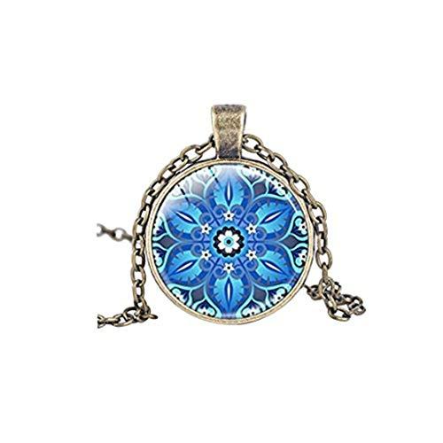 Blue Kaleidoscope Necklace Mandala Flower Yoga Jewelry Geometric Floral Cabochon Necklaces Gift (Bronze)