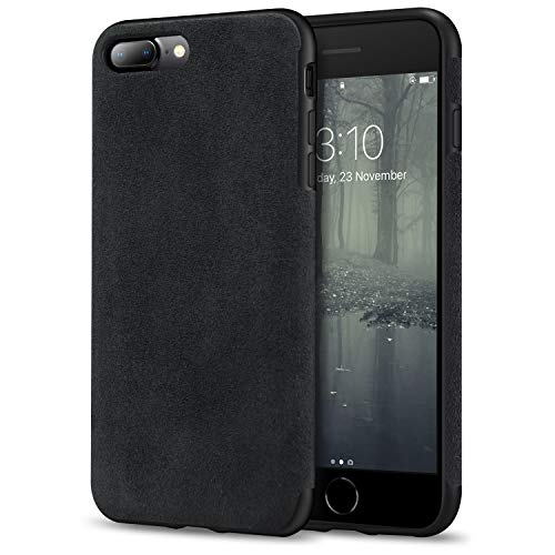 TENDLIN Kompatibel mit iPhone 7 Plus Hülle/iPhone 8 Plus Hülle Aus Alcantara Material Schutzhülle TPU Hybrid Komfortable Handyhülle (Schwarz)