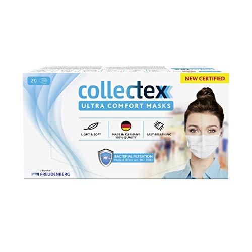 Vileda Collectex Ultra Comfort Maske Typ II, CE zertifizierte Mund-Nasen-Maske | Mundschutz Maske für jeden Tag mit Filtereffizienz > 98% BFE, 20 Stück