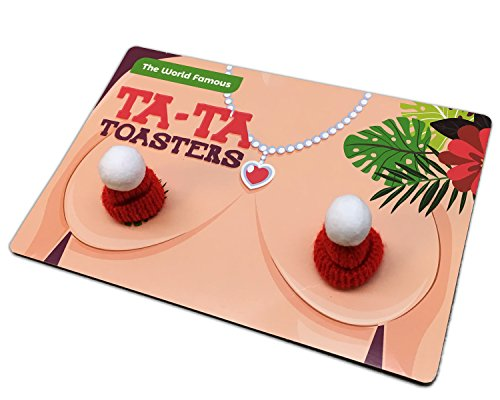 Ta-Ta Toasters – Funny Novelty Gift for Women Naughty Stocking Stuffers Gag Gifts for Girl Friends BFF Gifts for Ladies Funny White Elephant Idea Chest Warmers Hooter Heaters Tata Toasters