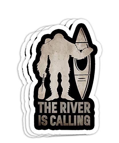 Bigfoot River Kayak Sasquatch Camping Canoe Gift Decorations - 4x3 Vinyl Stickers, Laptop Decal, Water Bottle Sticker (Set of 3)
