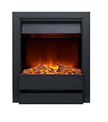 Electric Inset Fire Contemporary Log Effect with Black Front and Trim - Remote Control Fire
