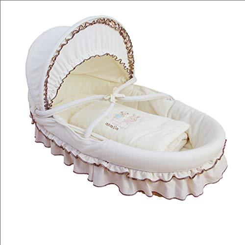 LNDD-Draagbare Moses Manden 360° Cradles 100% Katoen Rieten Duurzame Reizen Matrasje Pasgeboren Wit voor 0-9 Maanden
