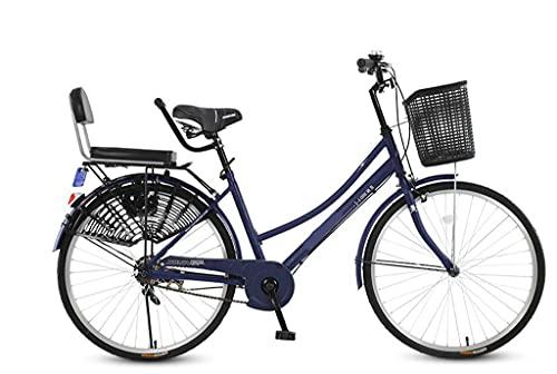 Bicicleta de carretera urbana de 24 pulgadas, ligera, de una velocidad, bicicleta holandesa, marco de acero, bicicleta para hombre, bicicleta urbana, deportes al aire libre, bicicleta urbana,Azul