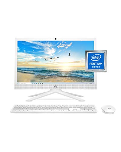 HP 21 All-in-One PC, Intel Pentium Silver J5040 Quad-Core Processor, 4 GB RAM, 128 GB SSD Storage, 20.7-inch Full HD Display, Windows 10 Home with Enhanced Security, Privacy Camera (21-b0020, 2020)