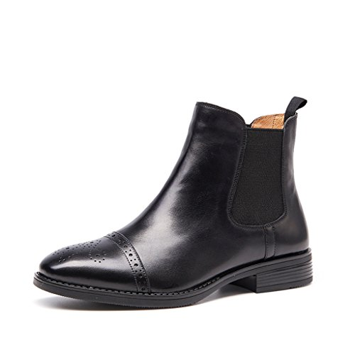 [ZUYEE] (ズイェ) レディース サイドゴアブーツ 本革 フラット ウイングチップ ショートブーツ 歩きやすい ブラック 23.5cm