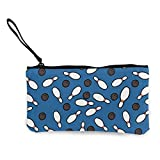 Lawenp Coin Purse Wallet Canvas Small Zipper Bag with Wrist Strap Makeup Bag Pouch Blue Bowling Protable Bag for Women/Lady/Girls
