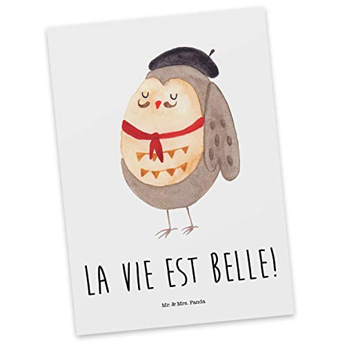 Mr. & Mrs. Panda Grußkarte, Ansichtskarte, Postkarte Eule Französisch mit Spruch - Farbe Weiß