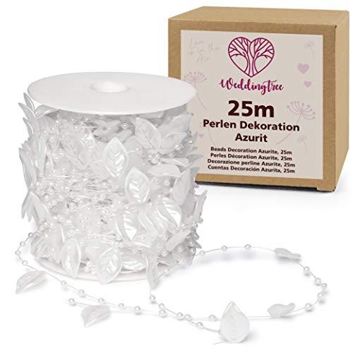 WeddingTree Guirnalda de perlas blancas 25m Hojas - Cinta de perlas para decoración de bodas y fiestas Cumpleaños Bautizos Navidad - 1 rollo