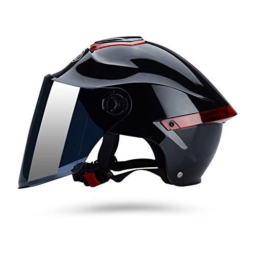 Galatée Casco de motocicleta con visera, adecuado para ciclomotores, scooters, cruceros, pase la prueba de colisión para cumplir con la seguridad vial(Negro, Lente marrón)