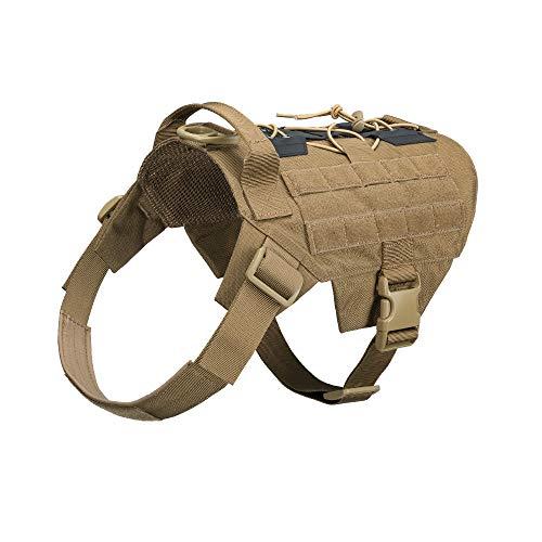 EXCELLENT ELITE SPANKER Hundeweste Molle für Kleine Mittlere Große Hunde Militärische Atmungsaktiv No Pull Hundegeschirr(Braun-S)