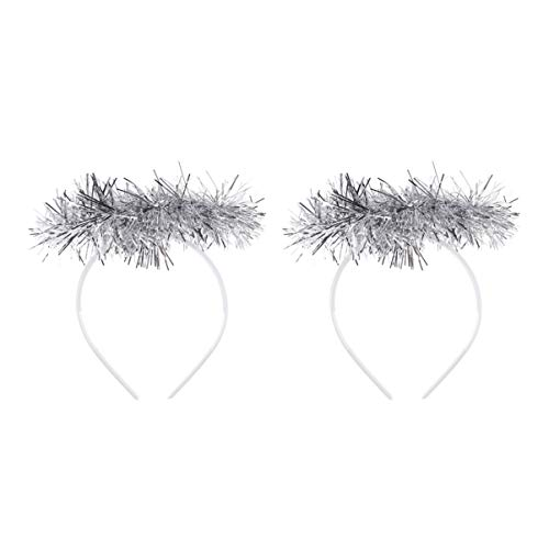 Beaupretty 2 Pcs En Plastique Tinsel Ange Halo Glitter Éclairer Plume Cheveux Cerceau Chapeaux Bandeau Costume Accessoires Pour Dame Femmes (Argent)