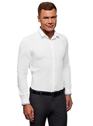 oodji Ultra Herren Hemd Extra Slim Fit mit Kontrastbesatz an Kragen und Manschetten, Weiß, 39
