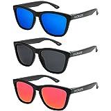 X-CRUZE® - Pack de 3 gafas de sol polarizadas estilo Retro Vintage Unisex Caballero Dama Hombre Mujer Gafas - negro mate LW - Set B -