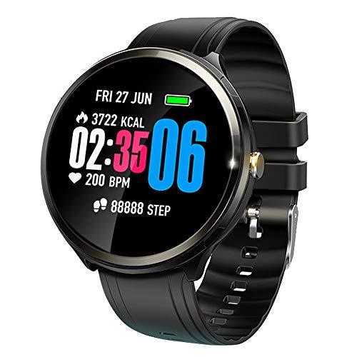 V12 Smartwatch mit farbigem Touch-Screen und Herzfrequenz-Sensor Leichte Fitness Uhr mit Push-Erinnerung SMS-Alert-Push, Bewegungsaufzeichnungen (Schritt, Kilometerstand), Schlafüberwachung (Schwarz)