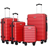 Ceilo Travel 4 Piece Hardside Luggage Set With TSA Lock Sturdy Aluminum Handle Suitcase Spinner Double Wheels,Red,4-piece Set (16/20/24/28)