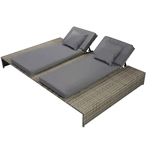 vidaXL Doppel Sonnenliege mit Auflage Gartenliege Gartenmöbel Liege Strandliege Relaxliege Freizeitliege Liegestuhl Rattanmöbel Poly Rattan Grau