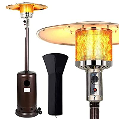 SOARRUCY Outdoor Heaters for Patio Propane - Patio Heater with Cover with Wheels,48000 Btu Stainless Steel Propane Heater for Garden,Party