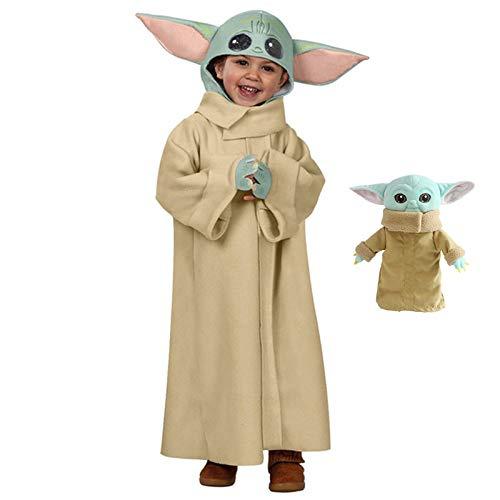Disfraz de Cosplay de Star Wars Baby Yoda, Disfraz de Disney para nios, Utilizado para nios, nias, Disfraces, Fiesta de nios pequeos, Halloween (Viene con el Juguete de Peluche Baby Yoda) (M)