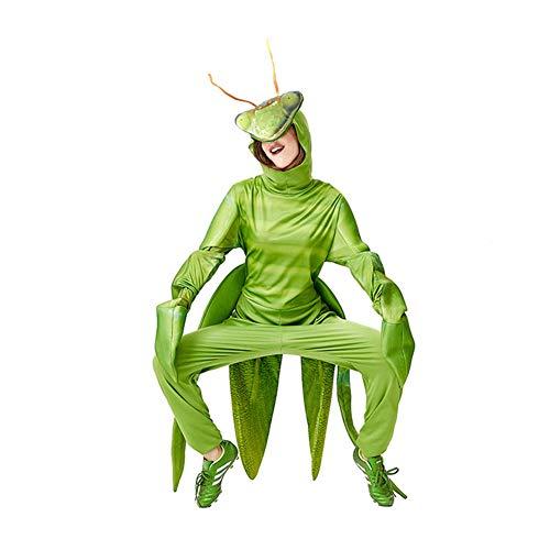 CGBF - Disfraz unisex de Mantis para adulto, divertido mono de animal verde para Halloween, disfraz de parque de atracciones, zoolgico, uniforme de trabajo, verde, talla nica