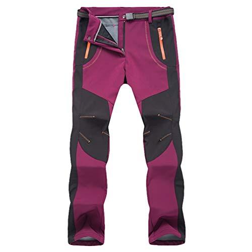 LvRaoo Unisexe Softshell Pantalon Imperméable en Molleton Respirant Randonnée Camping Trekking Pantalons (Fuchsia | Femmes, CN 2XL)