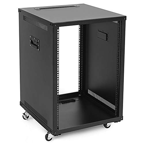 NavePoint 15U Portable Rolling Network Rack, Adjustable Depth 2.5 to 22.6 Inches, Top and Bottom Cable Management, Built-in Handles, Locking Swivel Caster Wheels, Audio Video, Telecom, Equipment Rack