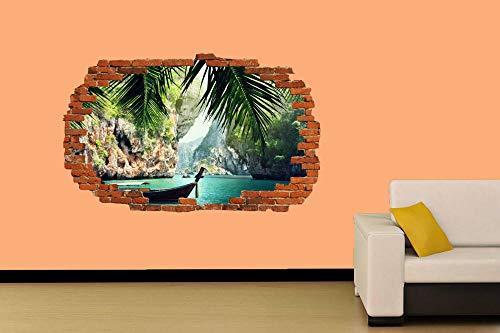 Barco de pesca en el mar Etiqueta de la pared Decoración de la habitación Calcomanía Mural Clase A 60x90cm