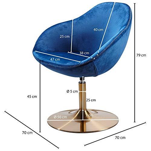 FineBuy Loungesessel SIRAN 70 x 79 x 70 cm Design Drehstuhl Blau | Clubsessel Polsterstuhl mit Armlehne | Drehsessel Cocktailsessel Lounge | Barsessel Besucherstuhl | Sessel mit Stoffbezug - 5