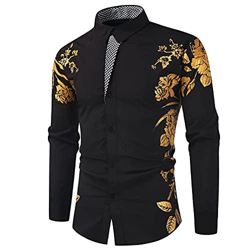 Camisa Estampada a Juego con el Color de los Hombres Top Trend Slim Streetwear Personalidad Casual Moda básica Camisas de Manga Larga 3XL