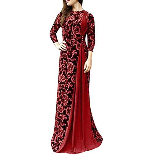 haoricu Womens Dress Women Dubai Arabian Floral Print Long Dress Muslim Dress Islamic Long Dress Red