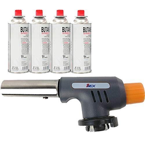 NS-100 Piezo Bunsenbrenner Flammbiergerät Flammbierer Gasbrenner MSF-1 Aufsatz (Gasbrenner + 4 Gaskartuschen)