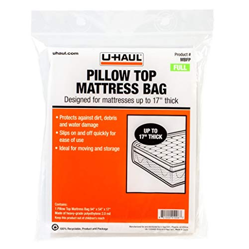 "U-Haul Pillow Top Full Mattress Bag – Moving & Storage Cover for Mattress or Box Spring – 94"" x 54"" x 17"""