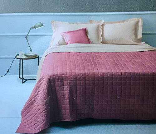 ZUCCHI - Tagesdecke für Doppelbett, gesteppt, aus Baumwolle, einfarbig, Farbe H3 Ortensia