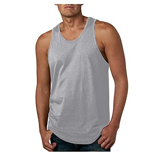 Camiseta Deporte Hombre Sin Mangas Camiseta de Compresión para Hombre Color Sólido, Chaleco Camisas Deportivo Adelgazante, Ropa de Hogar de Talla Grande de Verano Camisetas Interiores