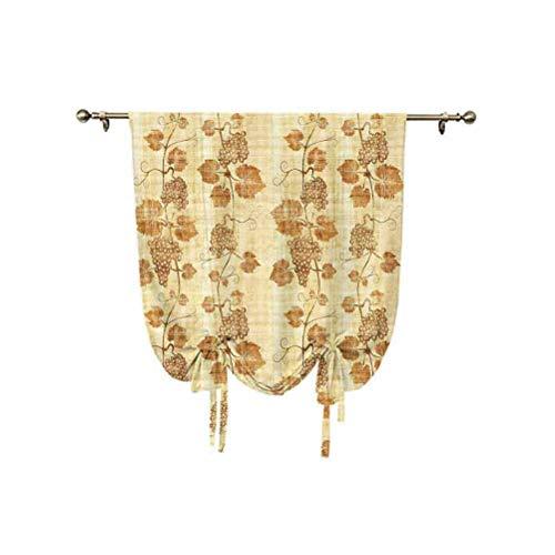Grapes Home Decor - Cortina para ventana, diseño de papiro egipcio envejecido, arrugado, aislante térmico, 137 x 150 cm, para sala de estar, cortina romana, color crema