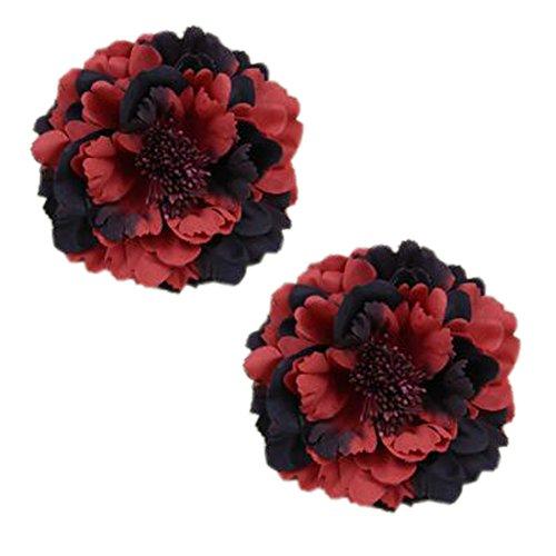2PCS élégant fleur cheveux cheveux clip décoration pour les dames, Rouge-noir