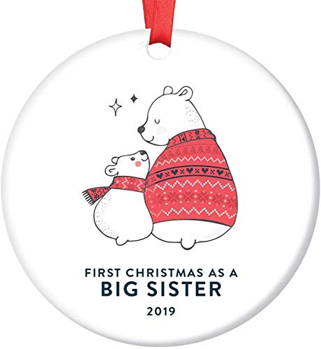 "3"" Christmas Ornament, Big Sister Gift Ideas Ornament Baby's First Christmas Keepsake from Little Sibling Newborn Twin Memento Best Friends Cute Woodland Bears Red & White Ceramic Xmas Ornament"