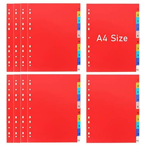 10PCS Plastic Binder Dividers with 10 Tab, Write & Erase...