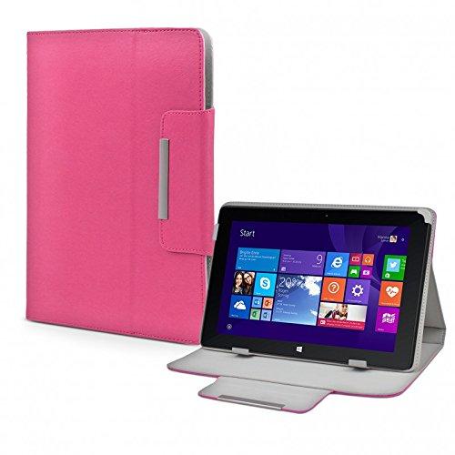 eFabrik Tasche für TrekStor Volks-Tablet SurfTab wintron 10.1 3G Volks-Tablet 3 Hülle Zubehör Schutzhülle mit Aufsteller Leder-Optik pink